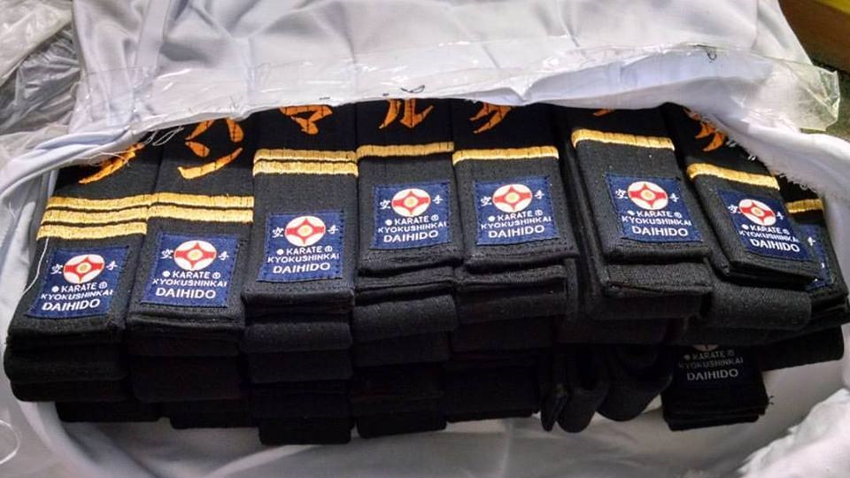 Customised embroidered black belt. Suitable for all styles. Karate, Judo,  Ju Jitsu, Aikido, Tae Kwon Do etc.